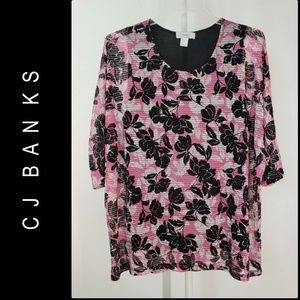 CJ Banks Woman Floral Blouse Size 2x Pink / Black